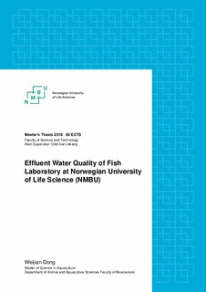 Effluent water quality of fish laboratory at Norwegian University of