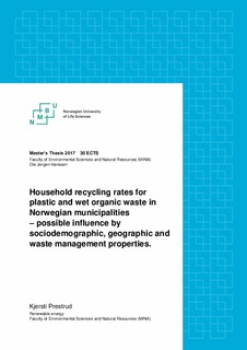Household recycling rates for plastic and wet organic waste