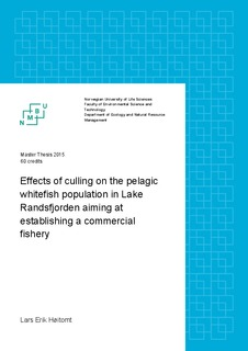 Effects of culling on the pelagic whitefish population in Lake